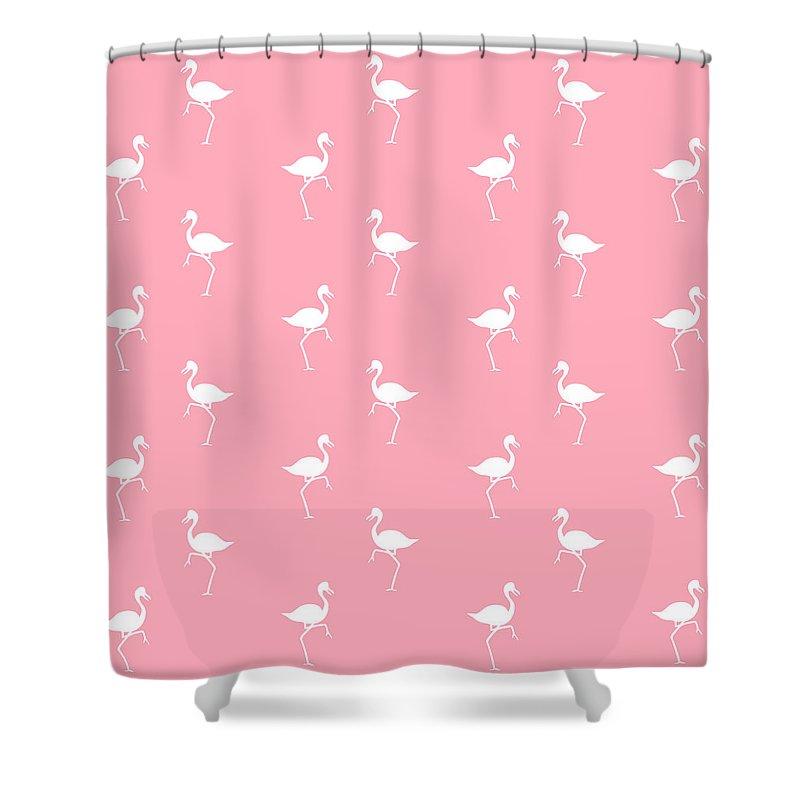pink flamingos pattern shower curtain