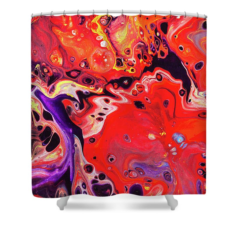 shooting star colorful contemporary abstract art painting shower curtain