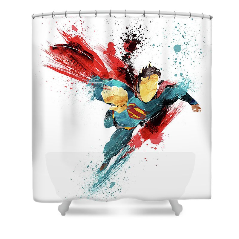 superman abstract shower curtain