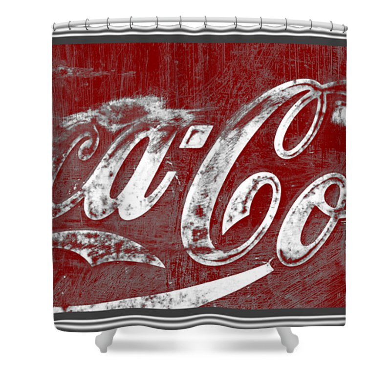 vintage coca cola red and white sign with transparent background shower curtain