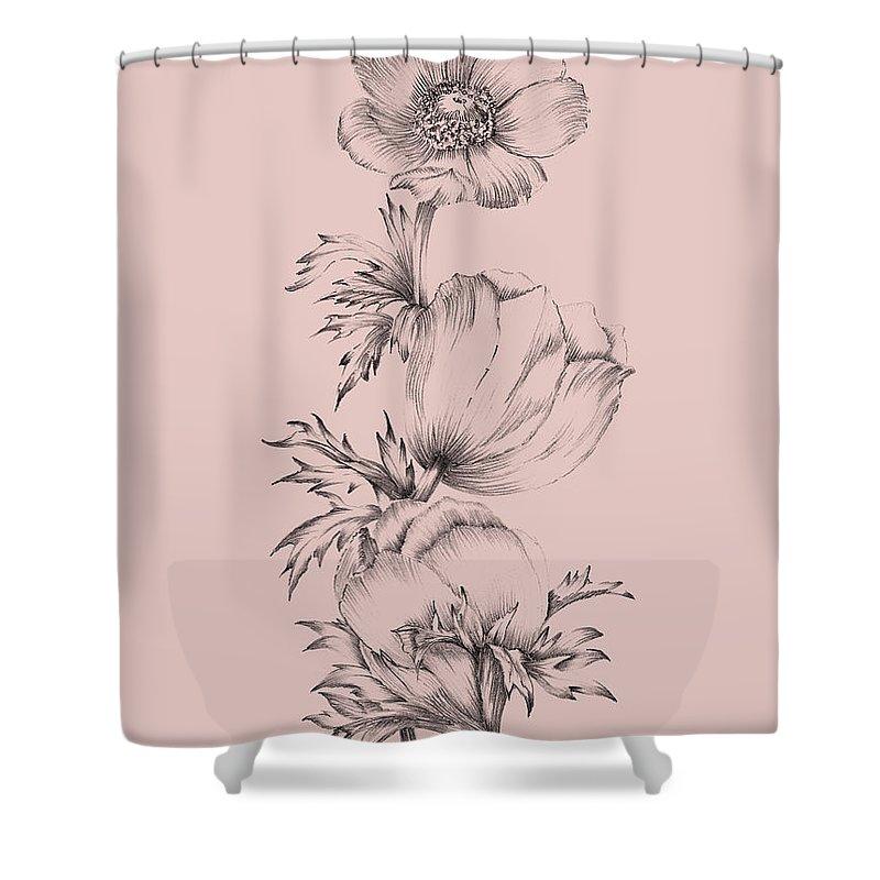 blush pink flower ii shower curtain