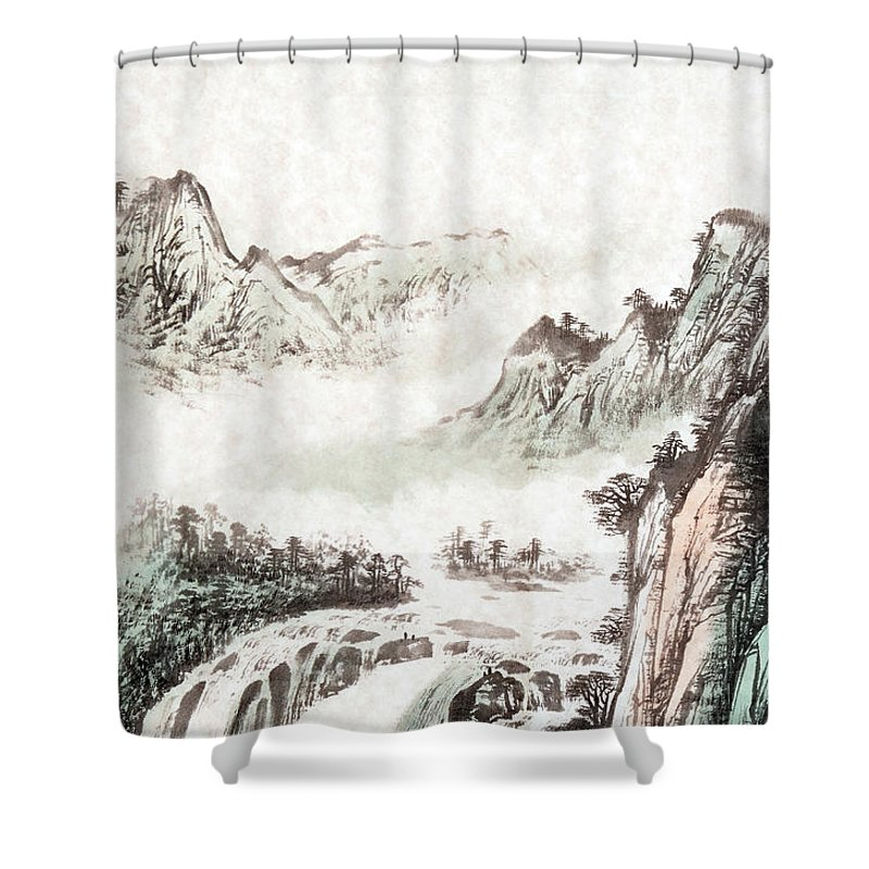 drawing of a mountain landscape shower curtain