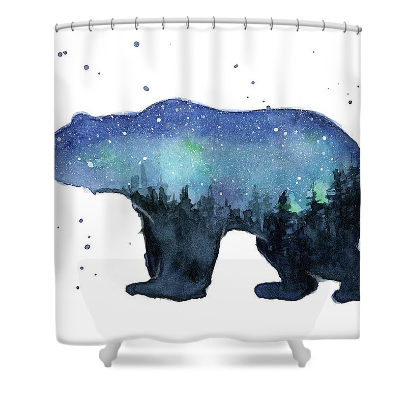 forest bear watercolor galaxy shower curtain