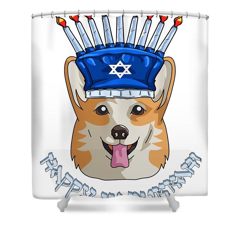 hanukkah corgi shower curtain
