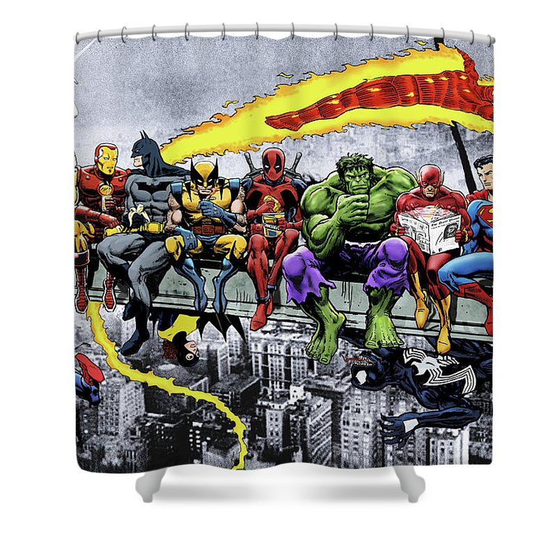 marvel dc superheroes lunch atop skyscraper again shower curtain
