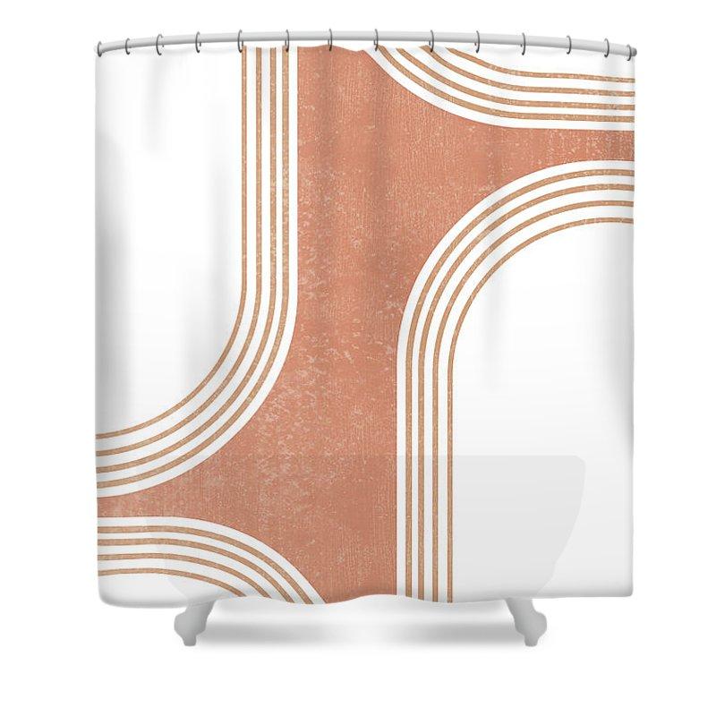 mid century modern 3 geometrical abstract minimal print terracotta abstract burnt sienna shower curtain