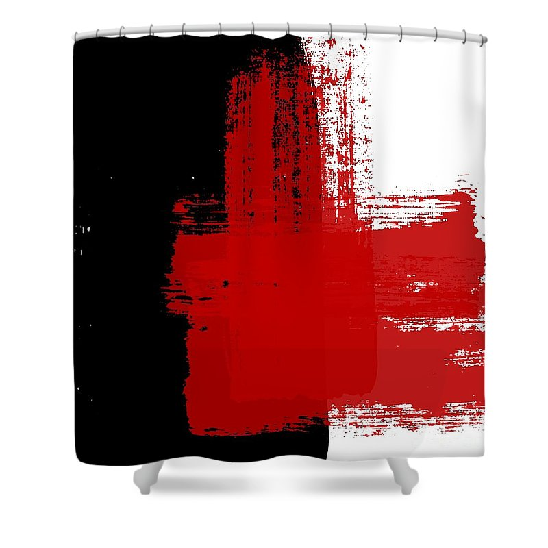 red and black abstract shower curtain