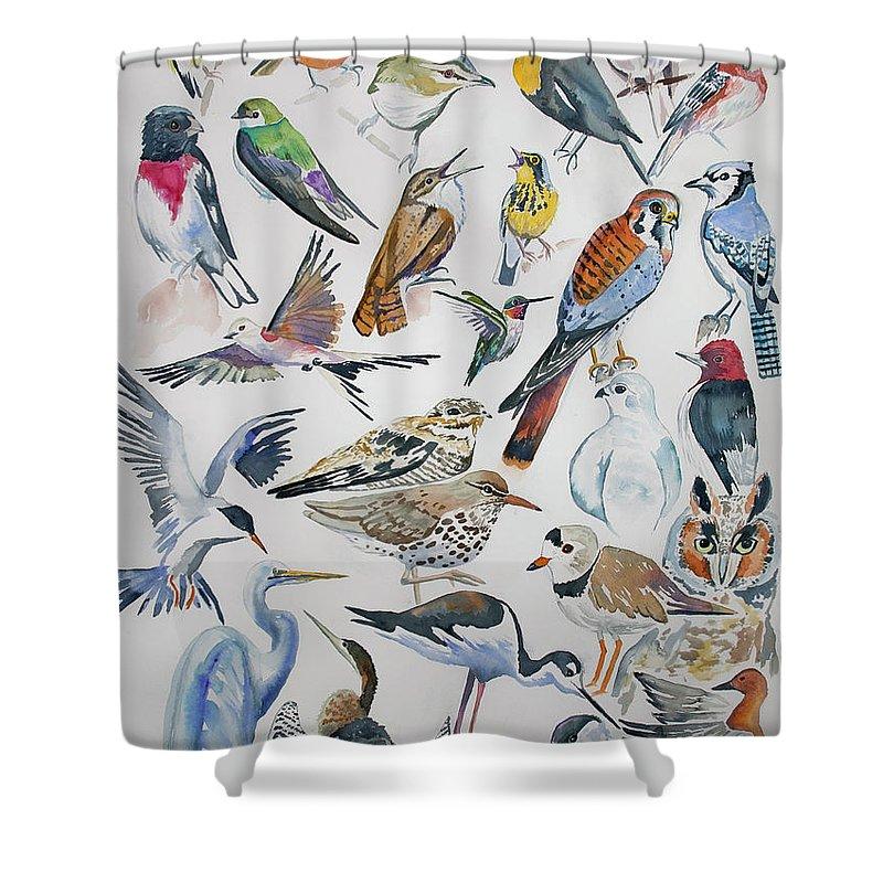 watercolor north american birds shower curtain