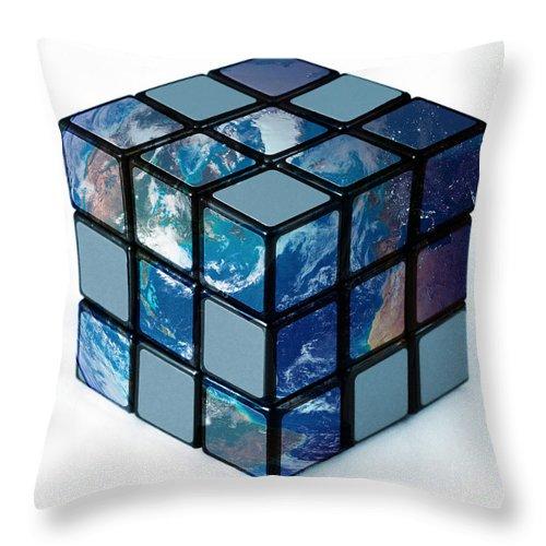 earth as rubiks cube throw pillow
