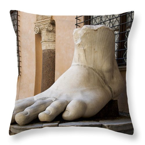 giant foot from emperor constantine statue capitoline museum r throw pillow