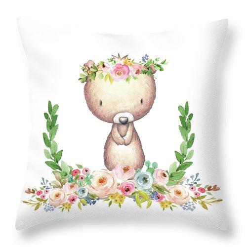 boho bear nursery pillow wall art mug woodland decor throw pillow