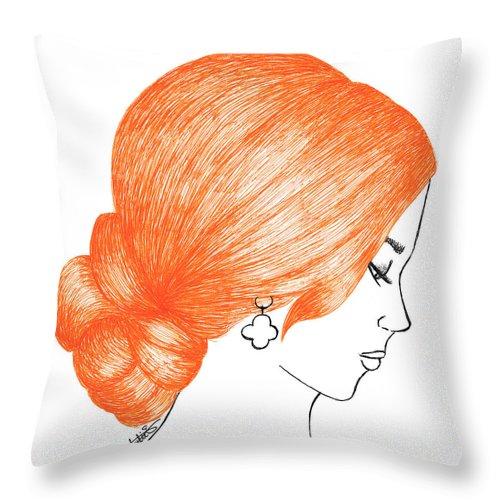 orange hair girl fashion illustration drawing fine art throw pillow
