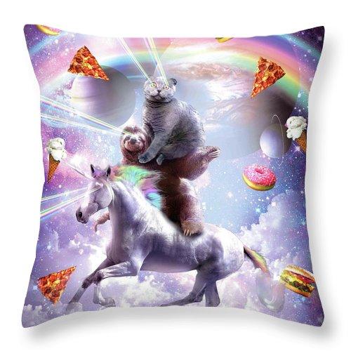laser eyes space cat on sloth unicorn rainbow throw pillow