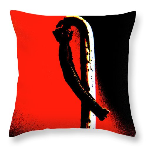 Abstract Throw Pillow featuring the photograph A Curl In Red And Black by Holly Morris