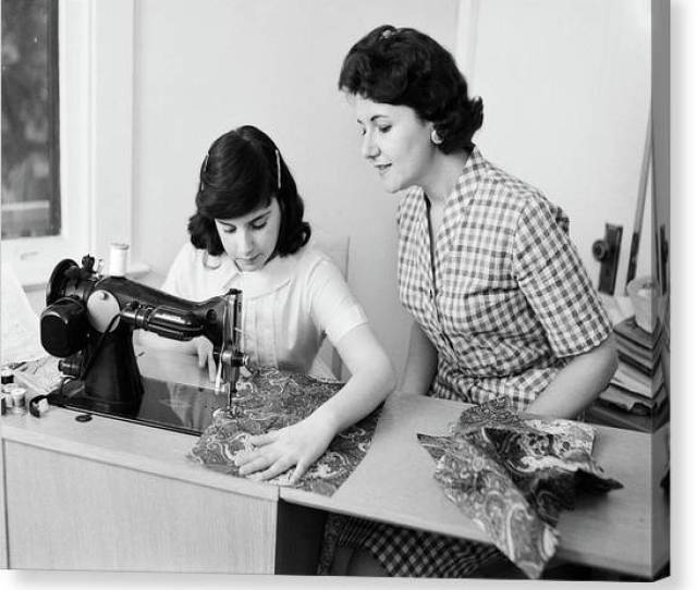 Teen Mom Canvas Print S S Mother Teaching Daughter By Vintage Images
