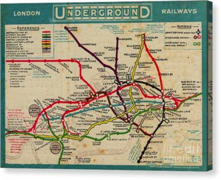 Vintage London Subway Map Painting by Baltzgar Vintage London Subway Map Canvas Print by Baltzgar