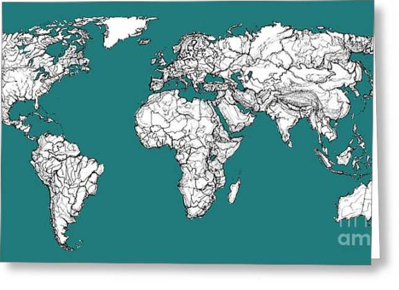 World Political Map Greeting Cards  Page  2 of 10    Fine Art America World Map In Blue Green Greeting Card