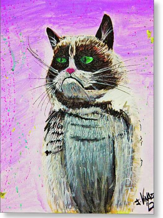 The Grumpy Cat From The Internets Greeting Card by eVol i