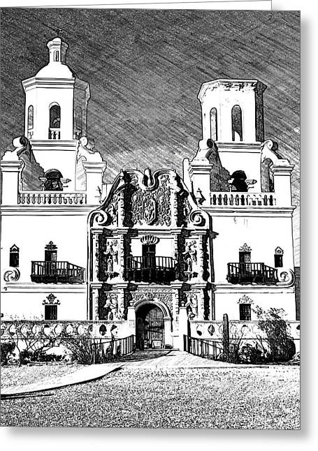 Mission San Xavier Del Bac - Bw Sketch Greeting Card