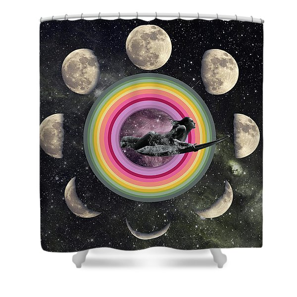 moon phases shower curtains fine art