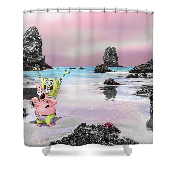 spongebob shower curtains pixels