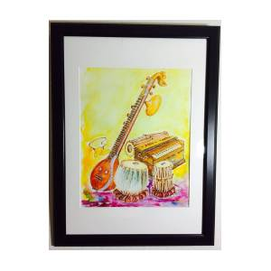 Indian Musical Instruments Painting By Sanjay Boga