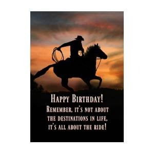 Cowboy And Horse Country Western Happy Birthday Photograph By Stephanie Laird