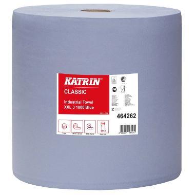 Aftørringsrulle Katrin Classic Industrirulle 3-lag 38 cm x380 m Blå
