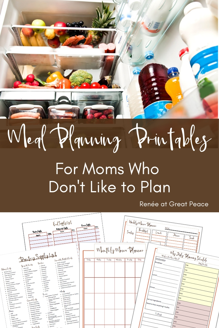 Family Meal Planning Printables for Moms who Don't Like to Plan   Renée at Great Peace  #mealplanning #dinnerideas #familymeals #menuplanning #planning