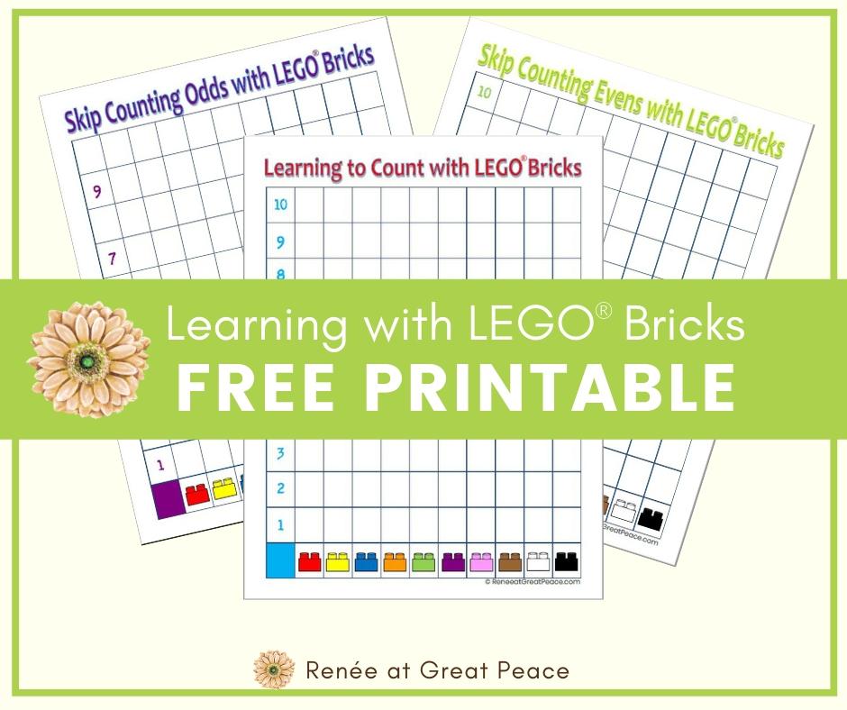 Learning to Count with LEGO Bricks | Renee at Great Peace #freeprintable #LEGOPrintable #LEGOmath #math #homeschoolmath #handsonmath #ihsnet