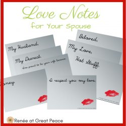 Love Notes Printables for your spouse   Marriage Moments with Renée at Great Peace