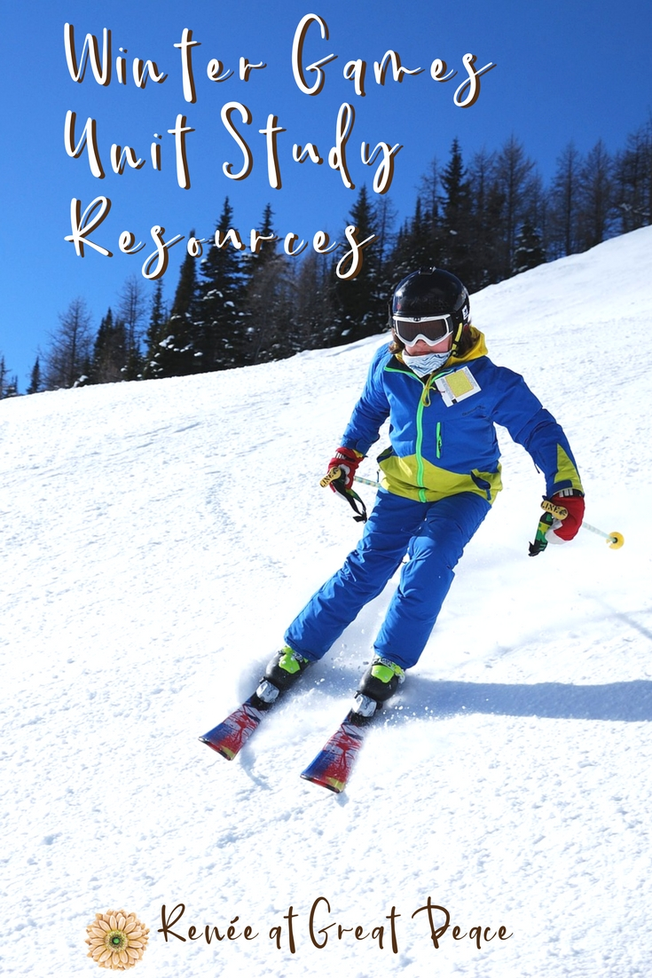 Winter Games Unit Study Resources | Renée at Great Peace #homeschool #unitstudies #wintergames #ihsnet