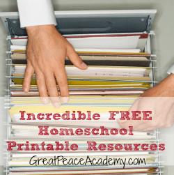 Incredible FREE Homeschool Printable Resources   GreatPeaceAcademy.com #homeschool