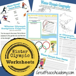 Winter Olympic Worksheets Printables