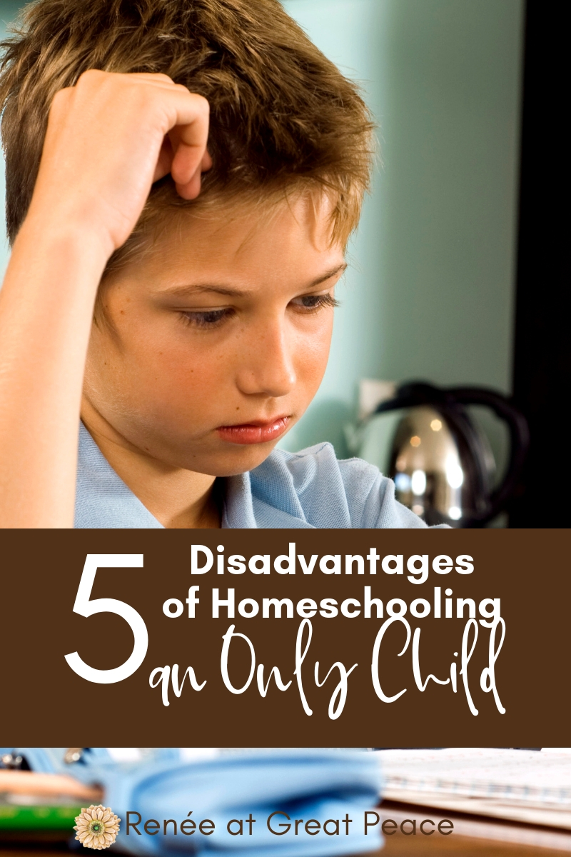 5 Disadvantages of Homeschooling an Only Child | Renée at Great Peace #homeschooling #homeschoolmoms #onlychild #ihsnet