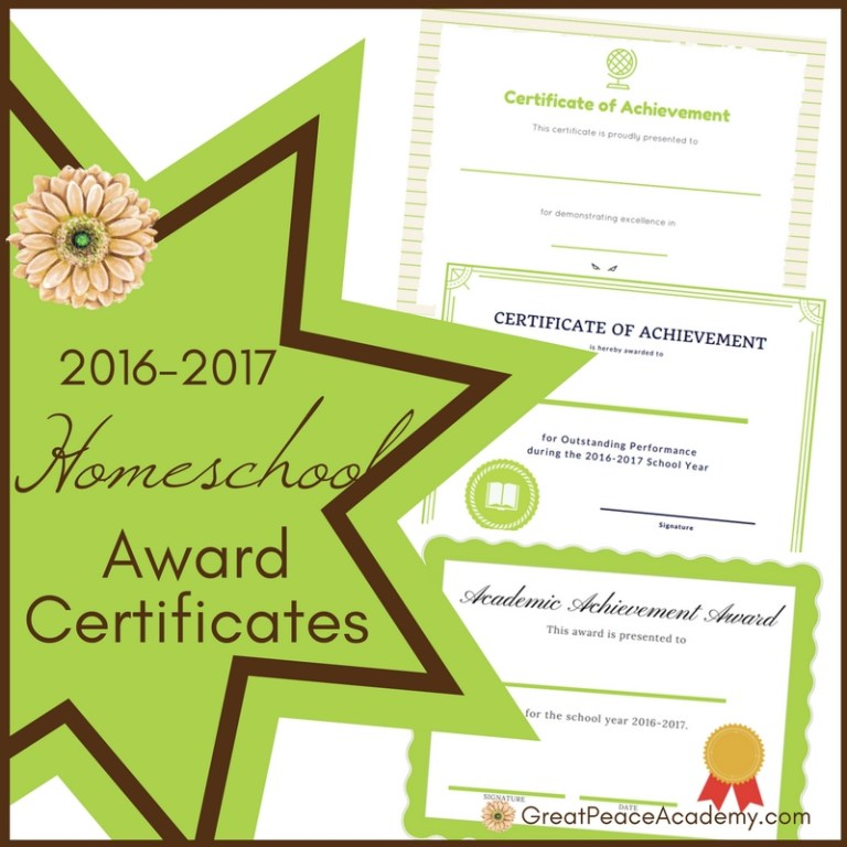 2016-2017 Homeschool Award Certificates | Free Printables | GreatPeaceAcademy.com #ihsnet #homeschool