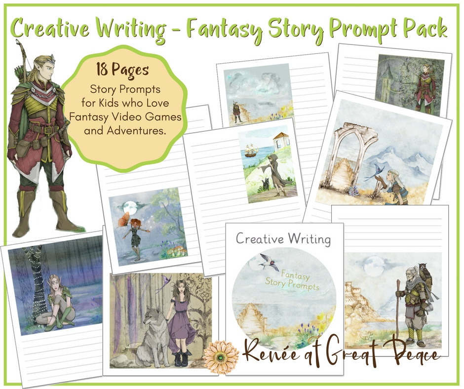 Creative Writing - Fantasy Story Prompts for Homeschoolers   Renée at Great Peace #creativewriting #storyprompts #printables #homeschool
