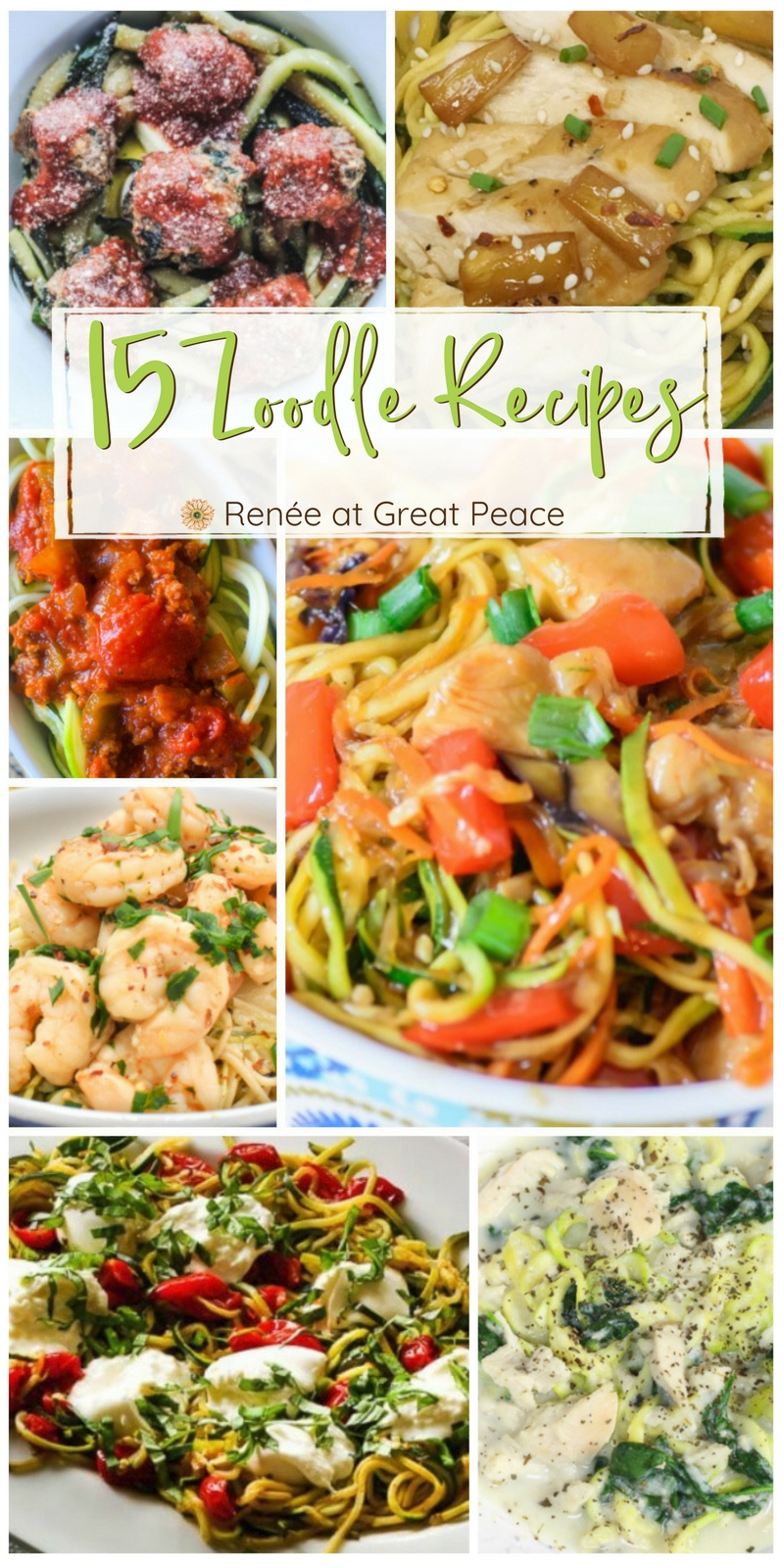15 Zoodle Recipes you can alter to stay on the THM plan. | Renée at Great Peace #mealplanning #thm