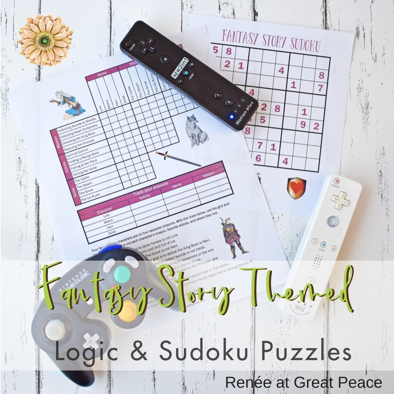 Fantasy Story Logic & Sudoku Puzzles - Get Your Free Printables | Renée at Great Peace #logicpuzzles #gifted #fantasystories #ihsnet #homeschool