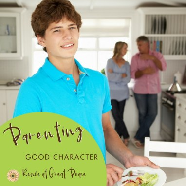 Parenting by Example Good Character Traits | Renée at Great Peace #parenting #moms #goodcharacter #ihsnet