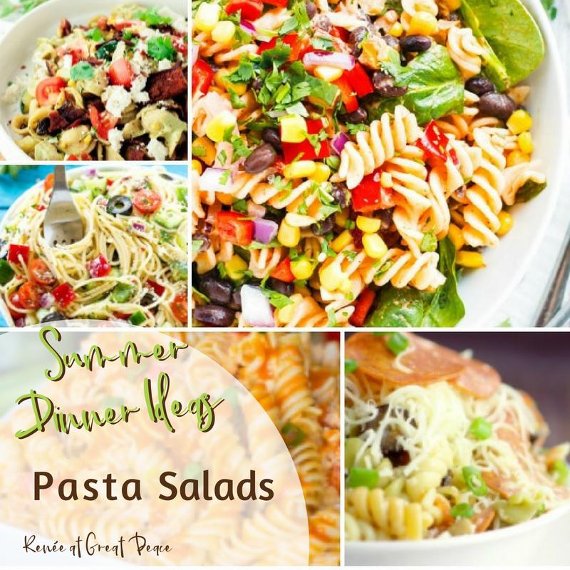 Summer Dinner Ideas Pasta Salads | Renée at Great Peace #mealplanning #summerdinner #pastasalads #family