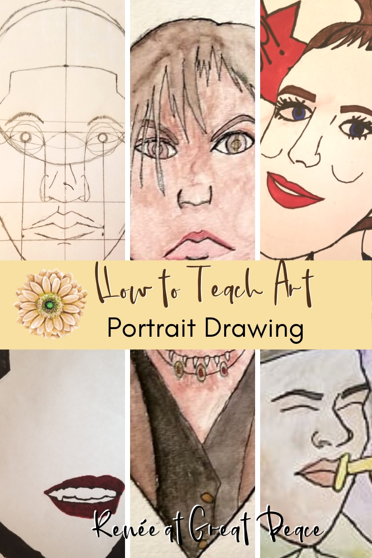 How to Teach Homeschool Art Portrait Drawings | Renée at Great Peace #homeschoolart #portraitdrawings #art #ihsnet