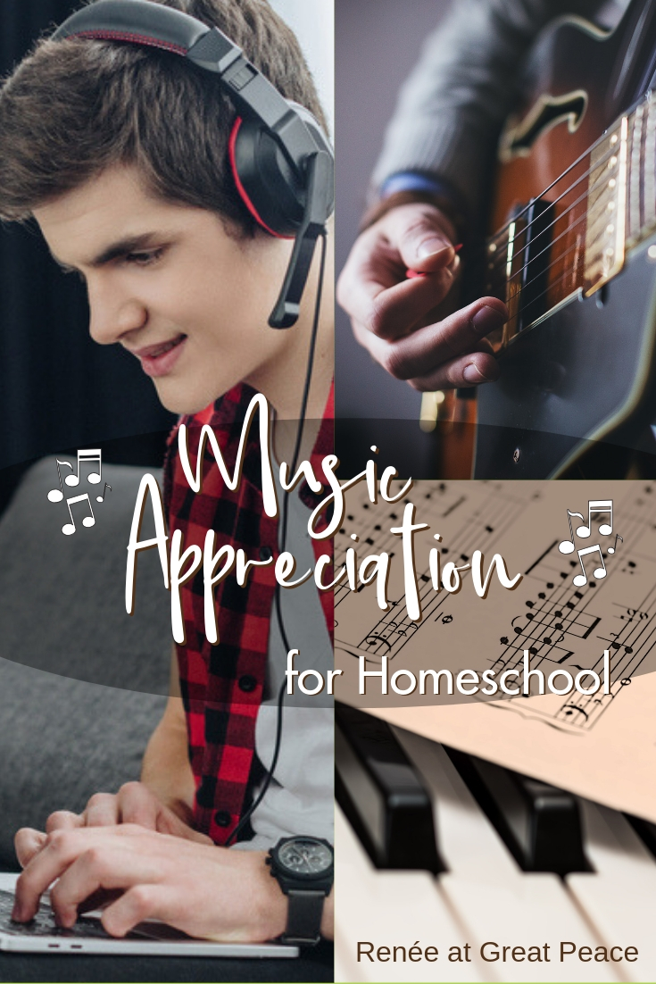 Music Appreciation for Homeschool~Finding music appreciation curriculum for homeschool can be overwhelming. The options can seem quite limited. That's why I've pulled together tips and ideas for music appreciation curriculum for homeschool.  | Renée at Great Peace #homeschool #ihsnet #musicappreciation