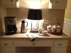 Kitchen desk serves as hot beverage bar