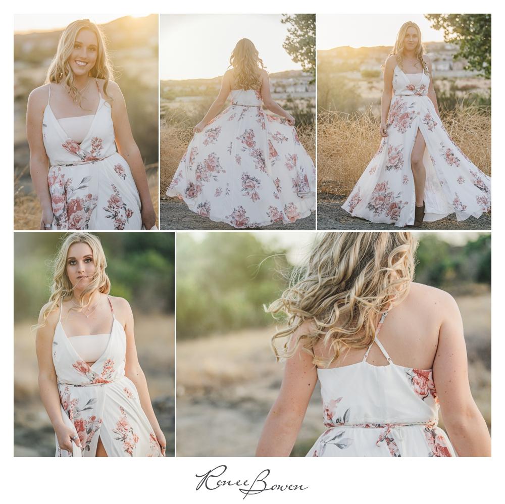 gen z podcast blond in flowered dresss twirling