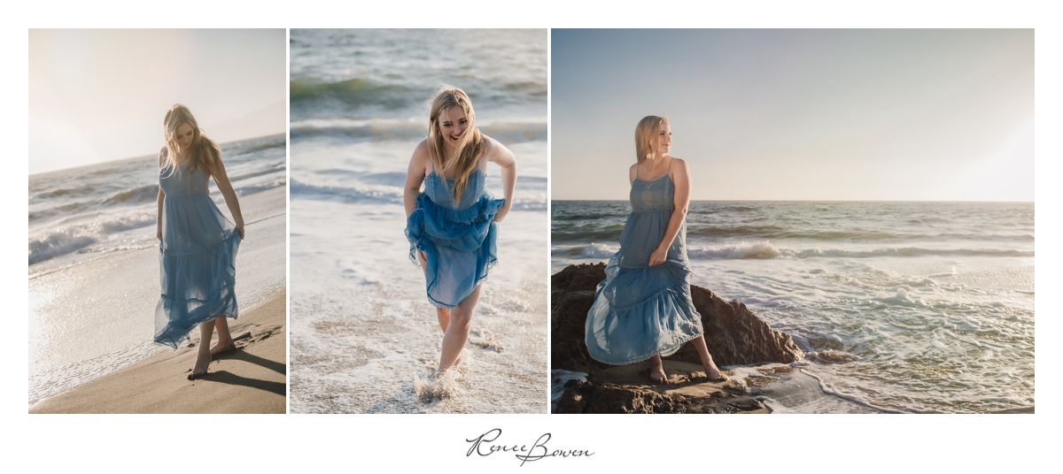 girl in blue dress on beach