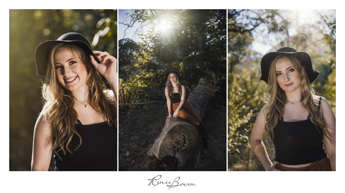 girl in black boho hat nature