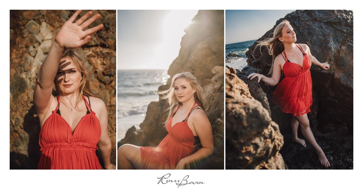 girl in orange dress on beach with rocks