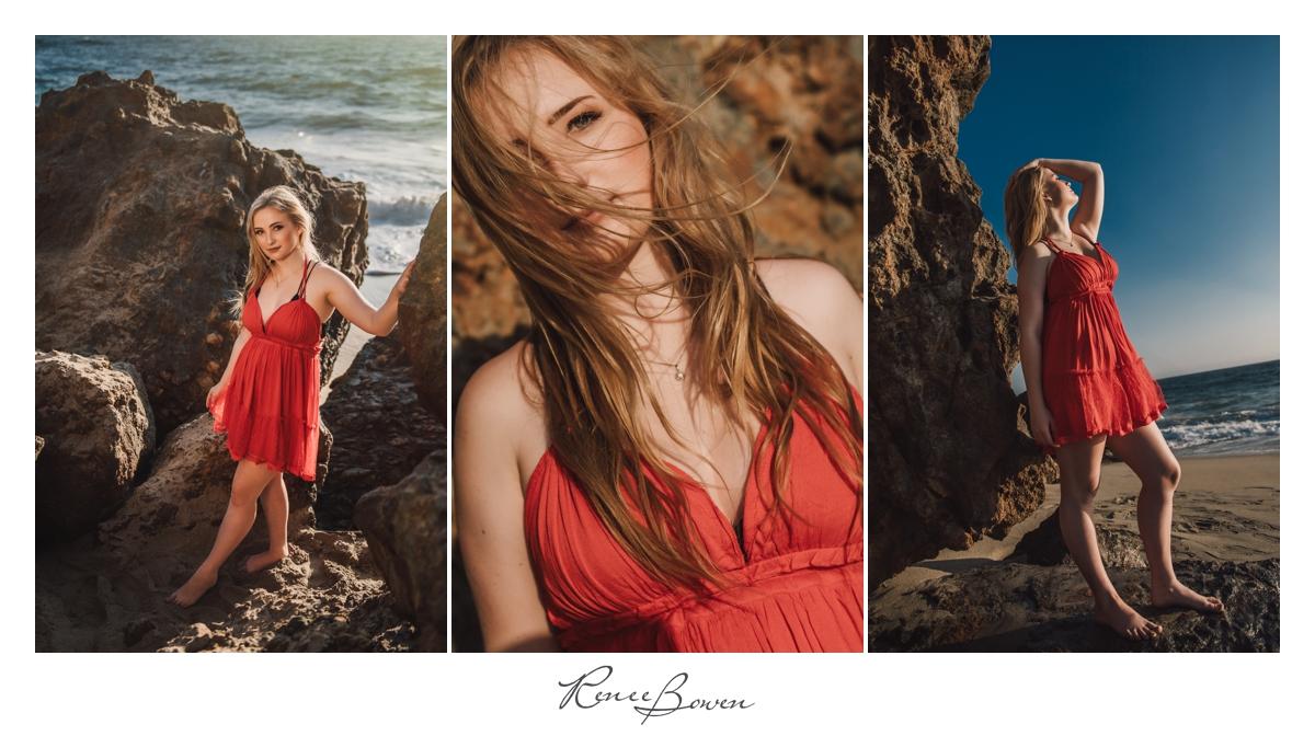 girl in orange boho dress on beach with rocks
