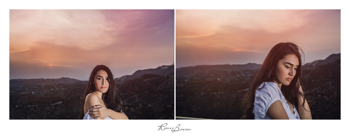 girl at griffith observatory overlooking hollywood sign and hollywood hills